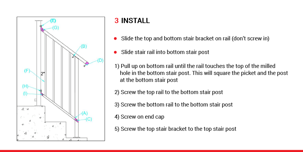 McLean Railings – how to assemble stair railing – 4