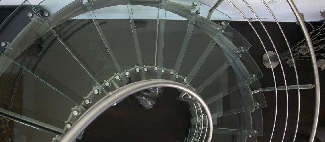 Glass circular staircase from above